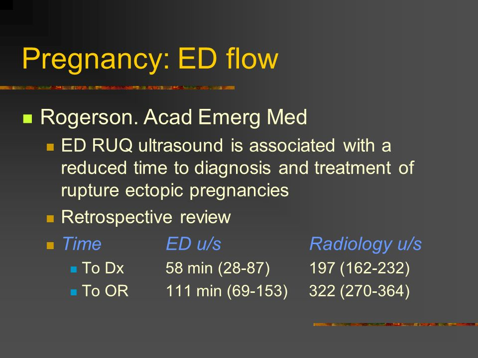 Pregnancy: ED flow Rogerson. Acad Emerg Med ED RUQ ultrasound is associated with a reduced time to diagnosis and treatment of rupture ectopic pregnanc