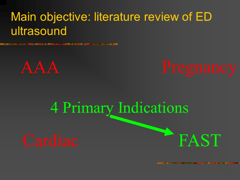 Main objective: literature review of ED ultrasound 4 Primary Indications AAA CardiacFAST Pregnancy