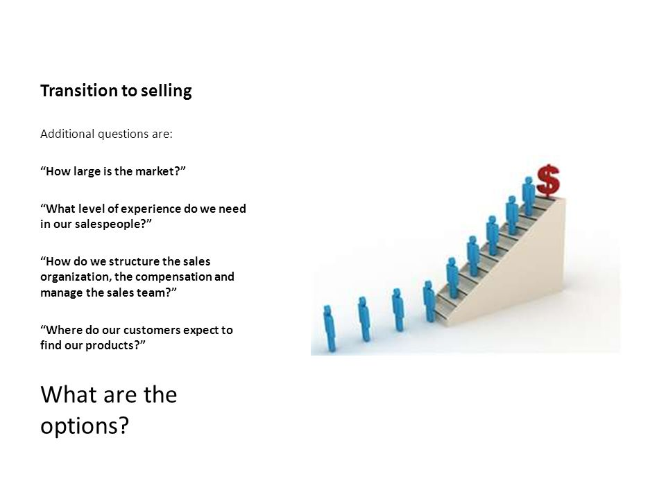 Transition to selling Additional questions are: How large is the market? What level of experience do we need in our salespeople? How do we structure t