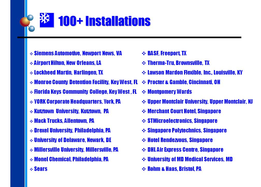 100+ Installations BASF, Freeport, TX Therma-Tru, Brownsville, TX Lawson Mardon Flexible, Inc., Louisville, KY Procter & Gamble, Cincinnati, OH Montgo