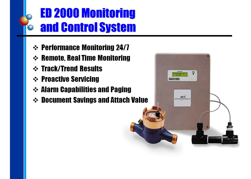 ED 2000 Monitoring and Control System Performance Monitoring 24/7 Remote, Real Time Monitoring Track/Trend Results Proactive Servicing Alarm Capabilities and Paging Document Savings and Attach Value