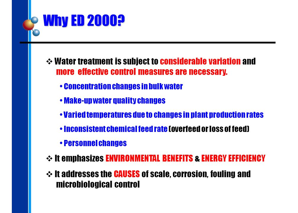 Why ED 2000? Water treatment is subject to considerable variation and more effective control measures are necessary. Concentration changes in bulk wat