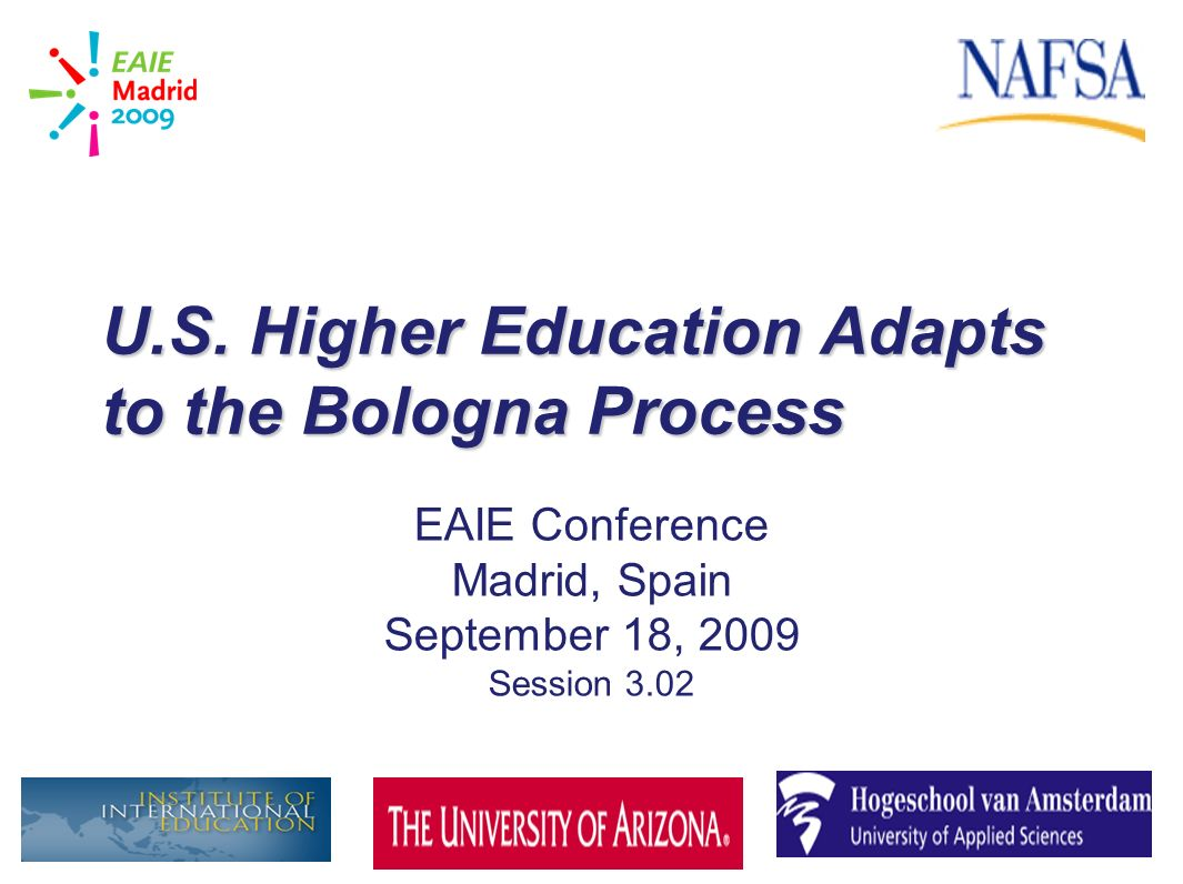 U.S. Higher Education Adapts to the Bologna Process EAIE Conference Madrid, Spain September 18, 2009 Session 3.02