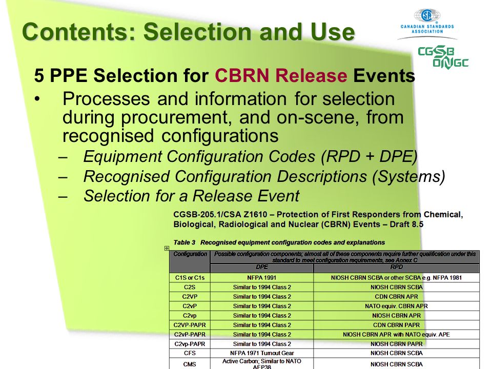 Contents: Selection and Use 5 PPE Selection for CBRN Release Events Processes and information for selection during procurement, and on-scene, from rec