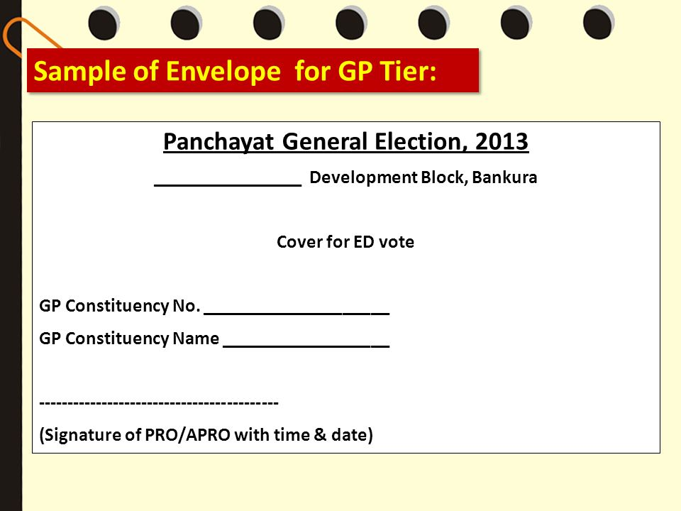 Sample of Envelope for GP Tier: Panchayat General Election, 2013 ________________ Development Block, Bankura Cover for ED vote GP Constituency No. ___