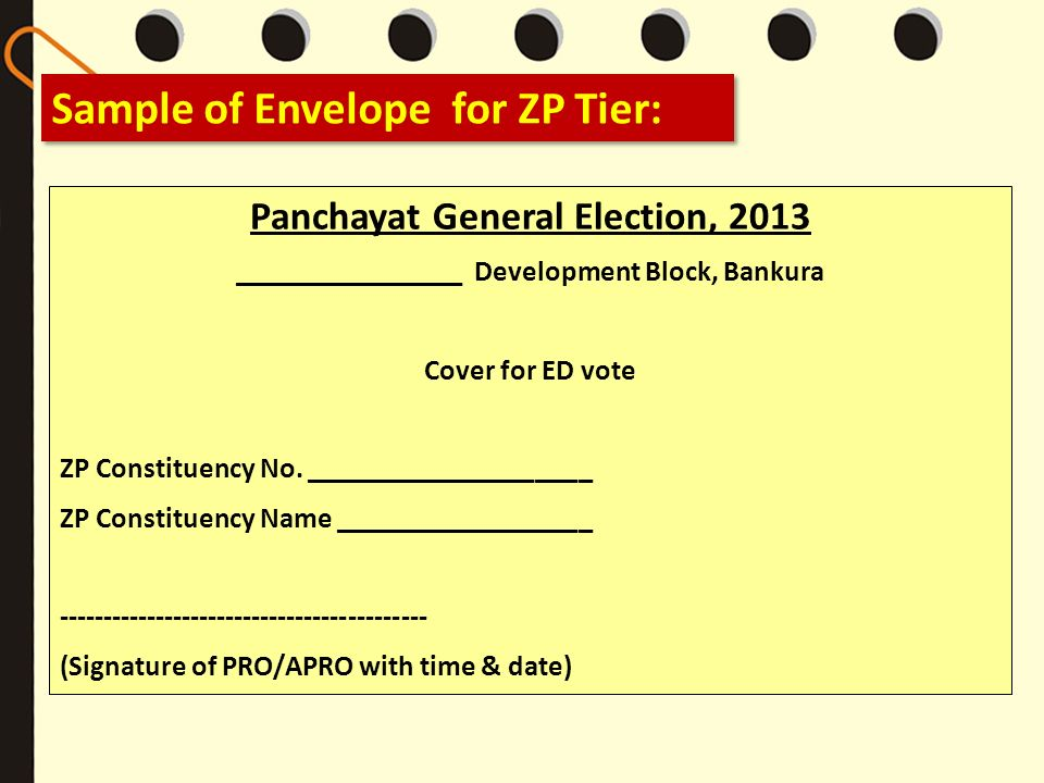 Sample of Envelope for ZP Tier: Panchayat General Election, 2013 ________________ Development Block, Bankura Cover for ED vote ZP Constituency No. ___