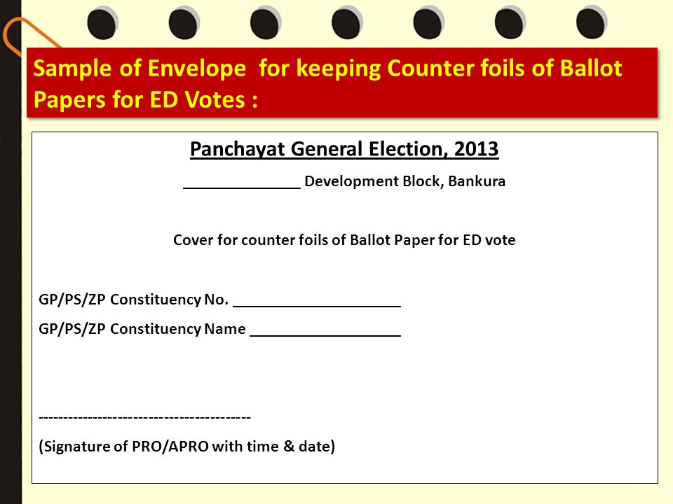 Sample of Envelope for keeping Counter foils of Ballot Papers for ED Votes : Panchayat General Election, 2013 ______________ Development Block, Bankur