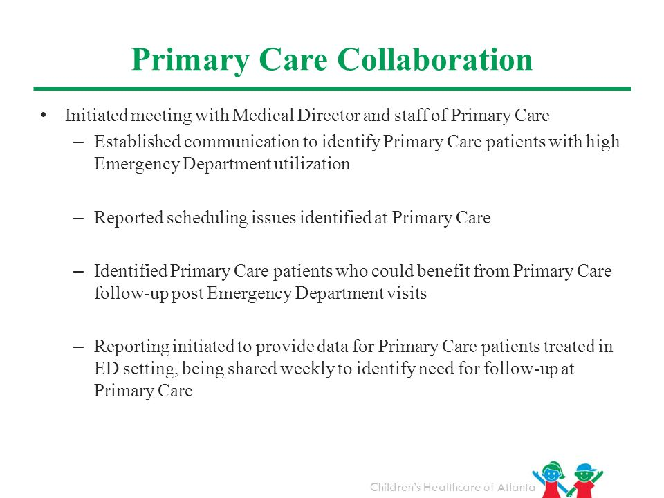 Childrens Healthcare of Atlanta Primary Care Collaboration Initiated meeting with Medical Director and staff of Primary Care – Established communicati