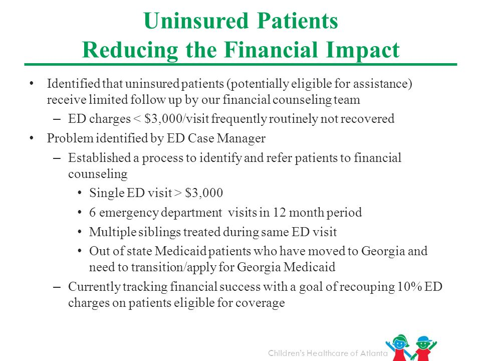 Childrens Healthcare of Atlanta Identified that uninsured patients (potentially eligible for assistance) receive limited follow up by our financial co