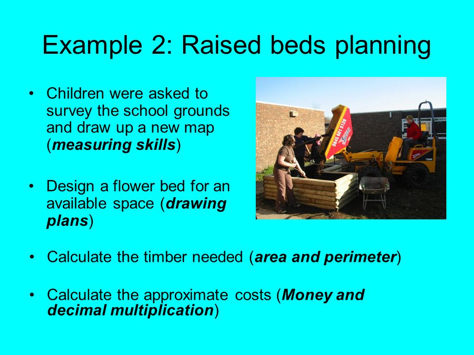 Example 2: Raised beds planning Children were asked to survey the school grounds and draw up a new map (measuring skills) Design a flower bed for an a