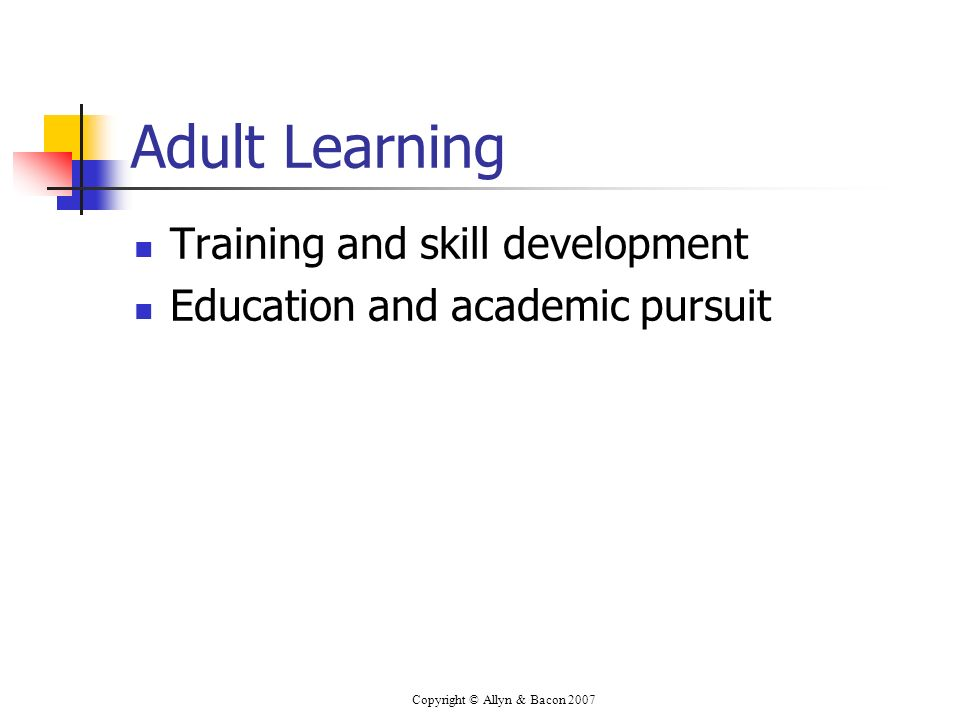 Copyright © Allyn & Bacon 2007 Adult Learning Training and skill development Education and academic pursuit