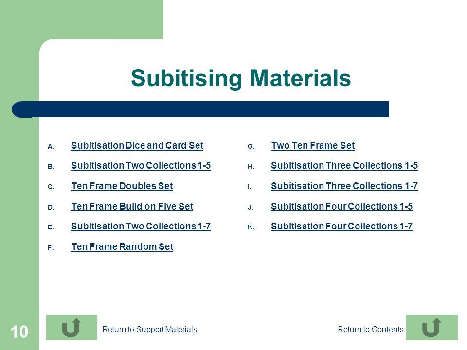 10 Subitising Materials A. Subitisation Dice and Card Set Subitisation Dice and Card Set B. Subitisation Two Collections 1-5 Subitisation Two Collecti