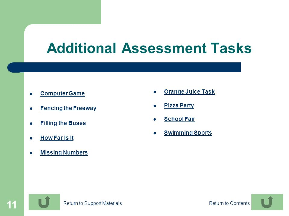 11 Additional Assessment Tasks Computer Game Fencing the Freeway Filling the Buses How Far Is It Missing Numbers Orange Juice Task Pizza Party School