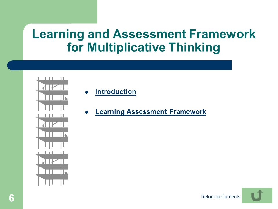 6 Learning and Assessment Framework for Multiplicative Thinking Introduction Learning Assessment Framework Return to Contents