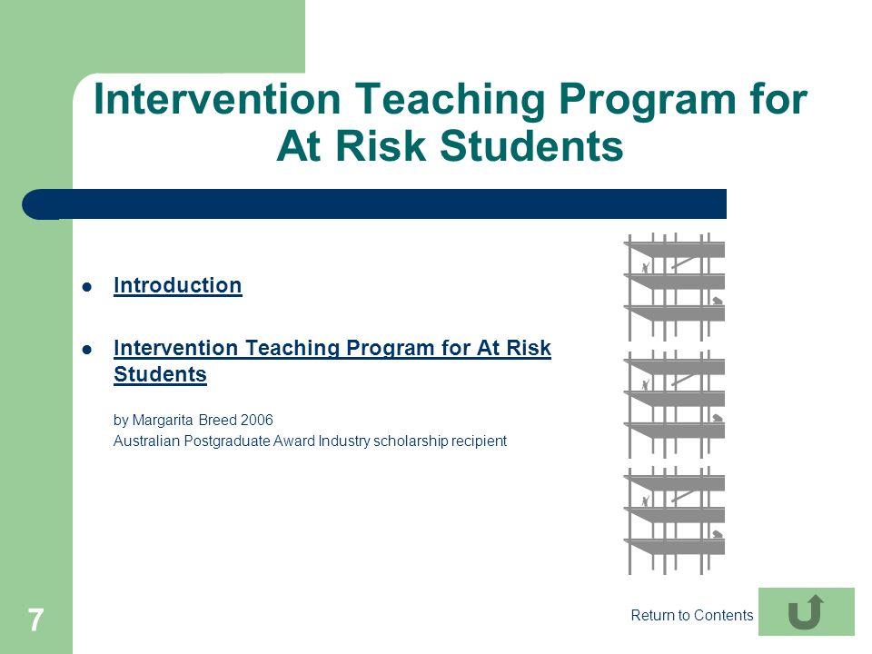 7 Intervention Teaching Program for At Risk Students Introduction Intervention Teaching Program for At Risk Students Intervention Teaching Program for
