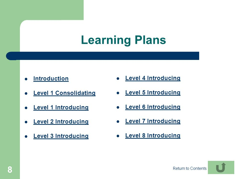 8 Learning Plans Introduction Level 1 Consolidating Level 1 Introducing Level 2 Introducing Level 3 Introducing Level 4 Introducing Level 5 Introducin