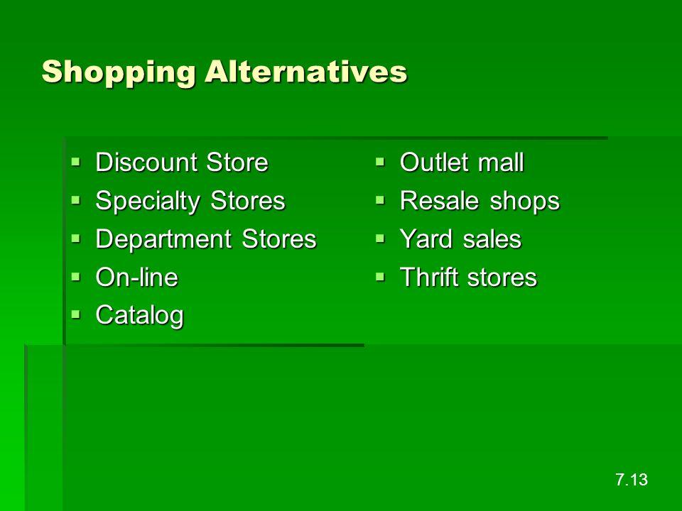 Shopping Alternatives Discount Store Discount Store Specialty Stores Specialty Stores Department Stores Department Stores On-line On-line Catalog Cata