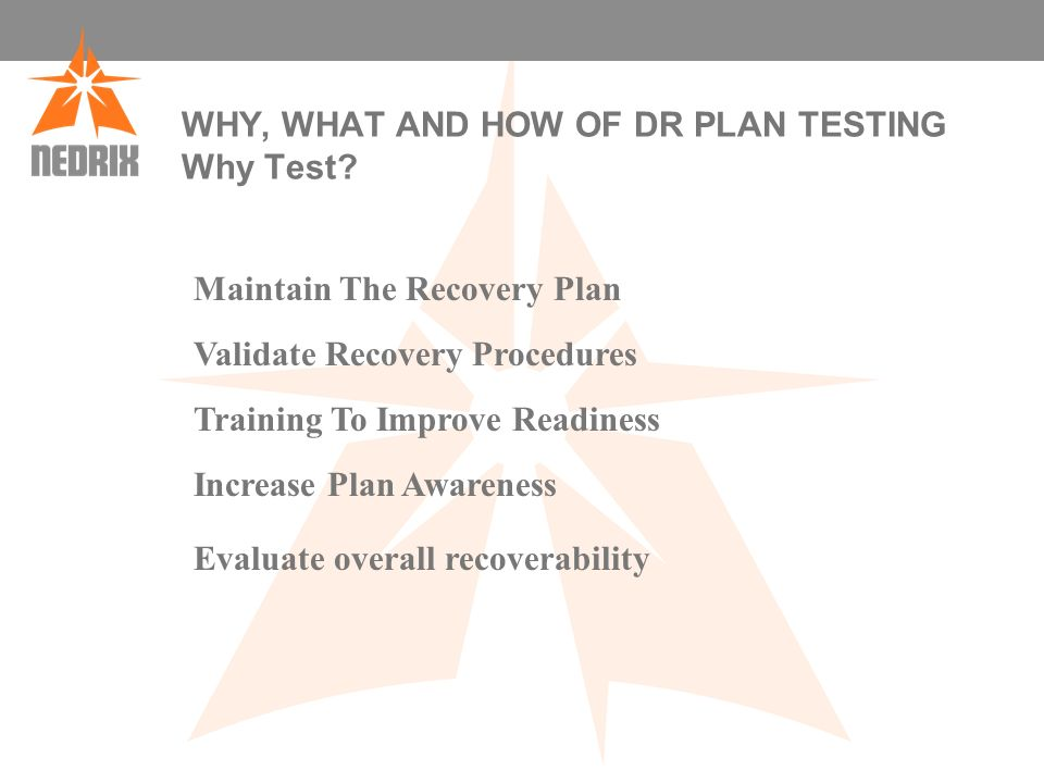 WHY, WHAT AND HOW OF DR PLAN TESTING Why Test.