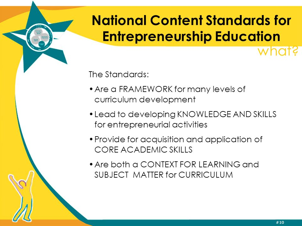 #10 National Content Standards for Entrepreneurship Education The Standards: Are a FRAMEWORK for many levels of curriculum development Lead to develop
