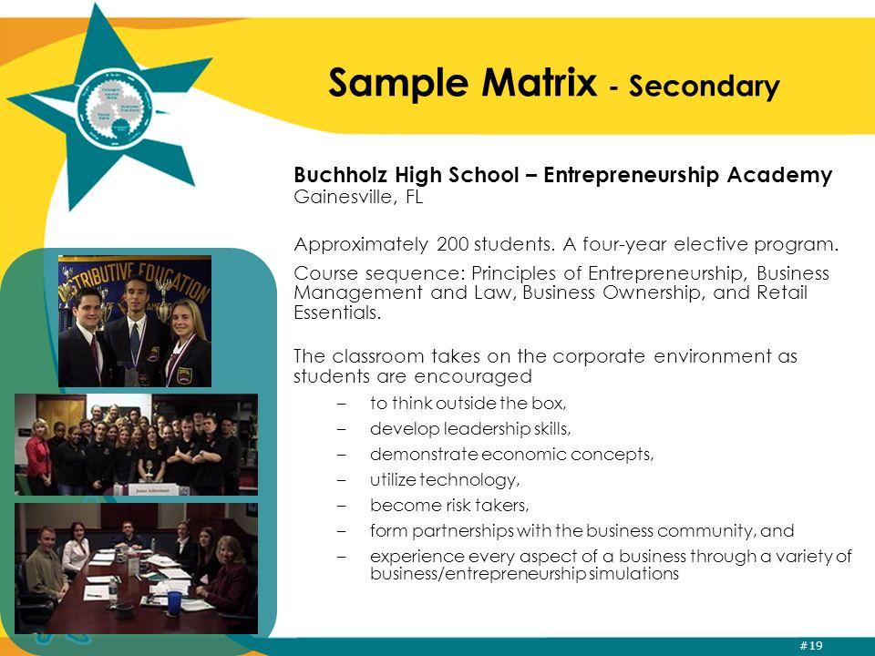 #19 Sample Matrix - Secondary Buchholz High School – Entrepreneurship Academy Gainesville, FL Approximately 200 students.