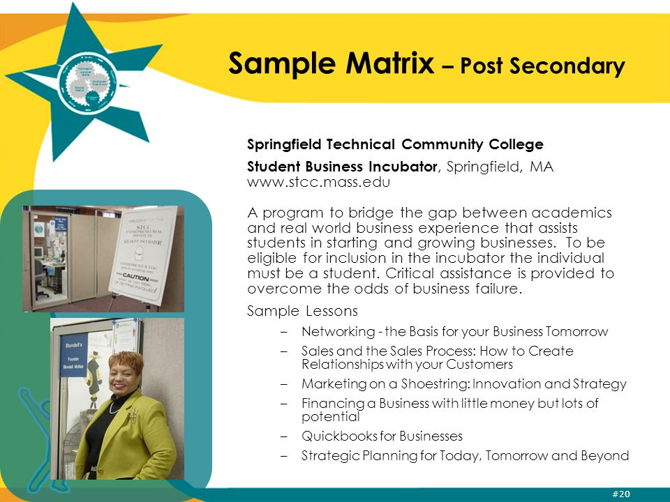 #20 Sample Matrix – Post Secondary Springfield Technical Community College Student Business Incubator, Springfield, MA www.stcc.mass.edu A program to