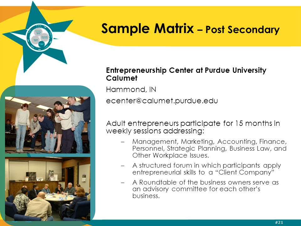 #21 Sample Matrix – Post Secondary Entrepreneurship Center at Purdue University Calumet Hammond, IN ecenter@calumet.purdue.edu Adult entrepreneurs participate for 15 months in weekly sessions addressing: –Management, Marketing, Accounting, Finance, Personnel, Strategic Planning, Business Law, and Other Workplace Issues.