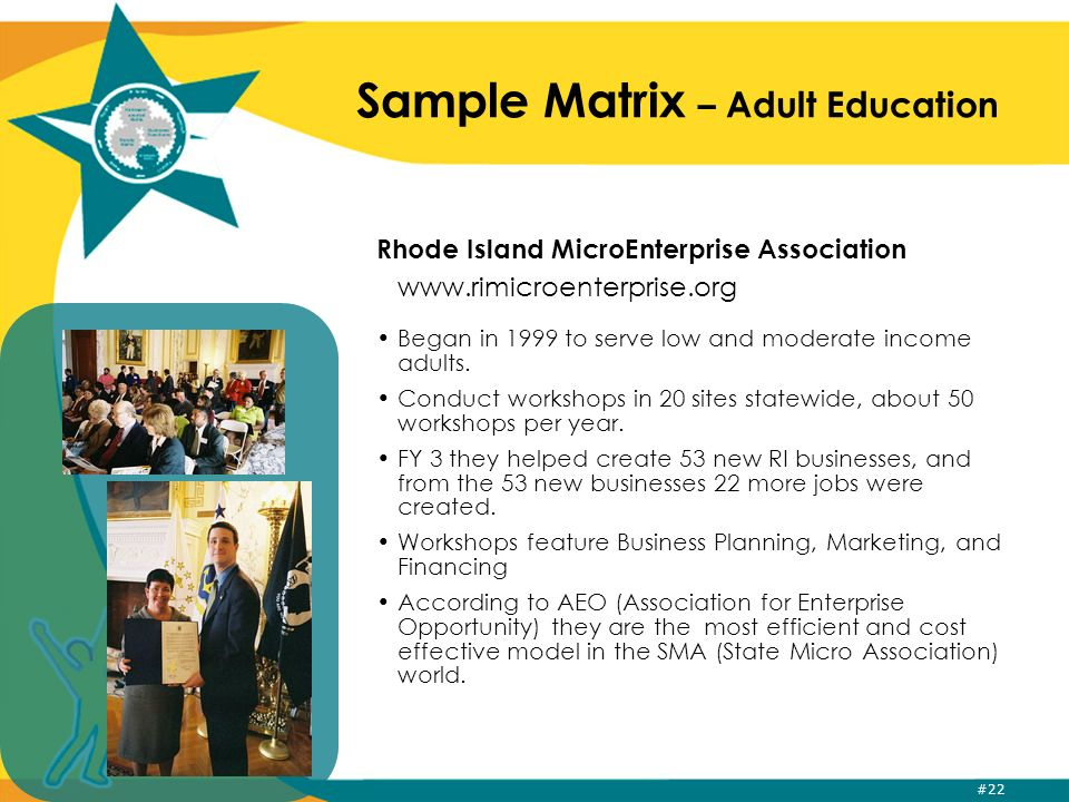 #22 Sample Matrix – Adult Education Rhode Island MicroEnterprise Association www.rimicroenterprise.org Began in 1999 to serve low and moderate income