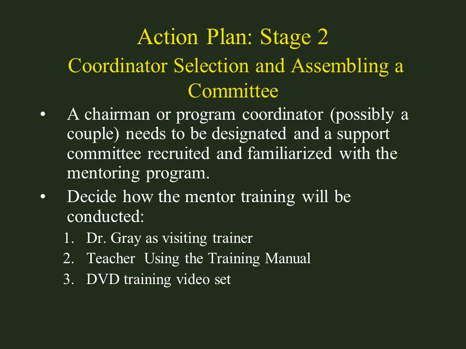 Action Plan: Stage 2 Coordinator Selection and Assembling a Committee A chairman or program coordinator (possibly a couple) needs to be designated and