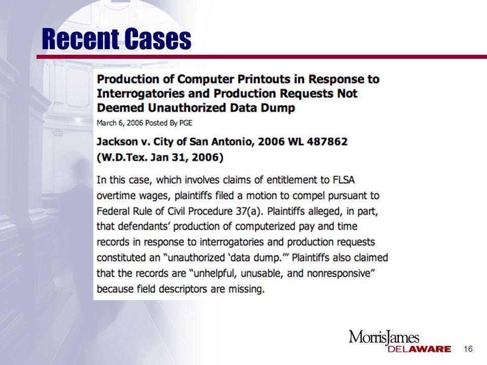 16 Recent Cases