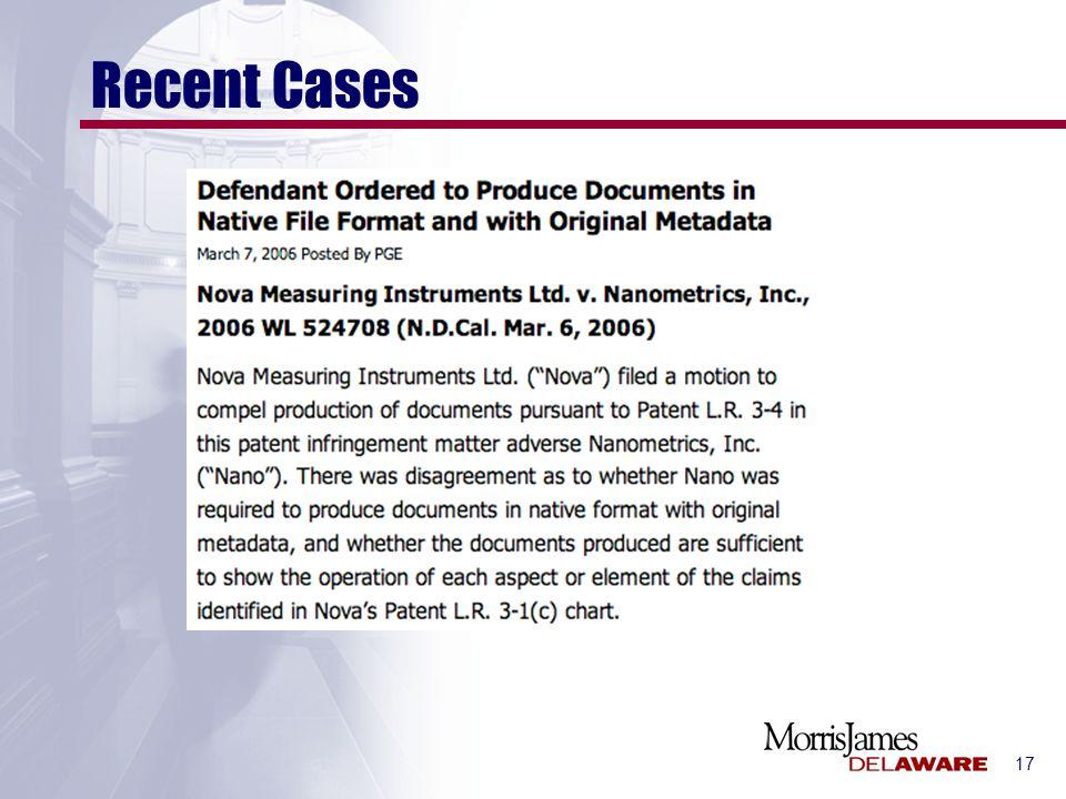 17 Recent Cases