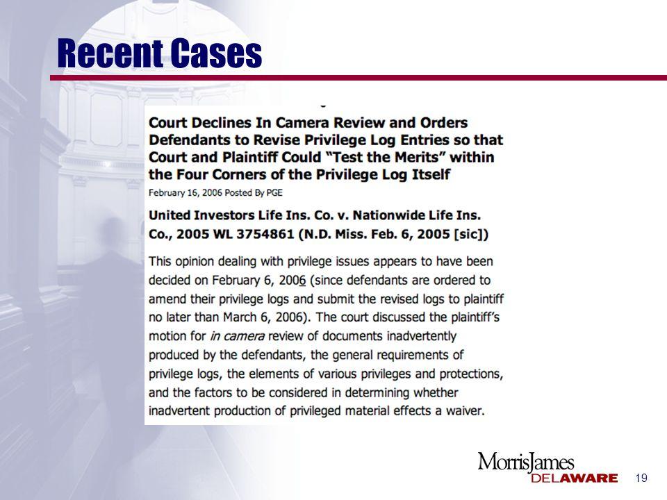 19 Recent Cases