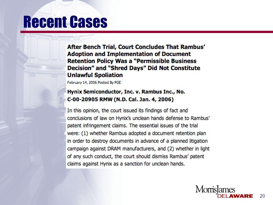 20 Recent Cases