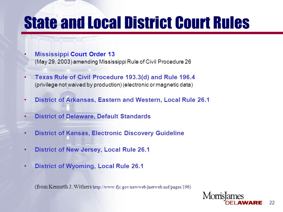 22 State and Local District Court Rules Mississippi Court Order 13 (May 29, 2003) amending Mississippi Rule of Civil Procedure 26 Texas Rule of Civil