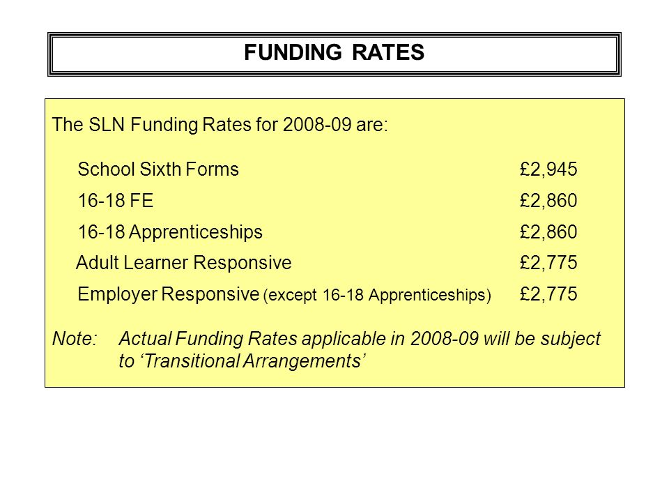 FUNDING RATES The SLN Funding Rates for 2008-09 are: School Sixth Forms£2,945 16-18 FE£2,860 16-18 Apprenticeships£2,860 Adult Learner Responsive£2,775 Employer Responsive (except 16-18 Apprenticeships) £2,775 Note:Actual Funding Rates applicable in 2008-09 will be subject to Transitional Arrangements
