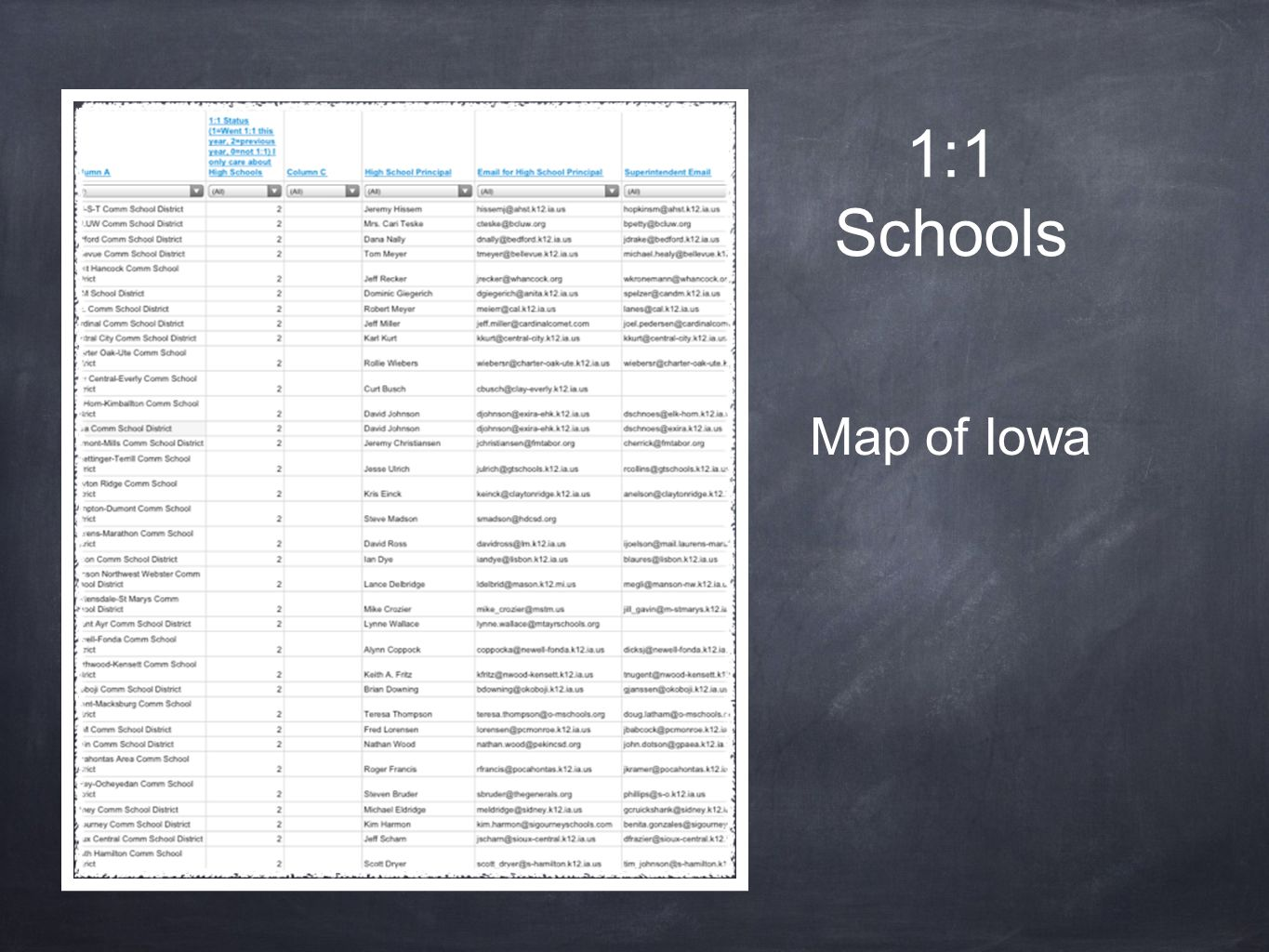 1:1 Schools Map of Iowa