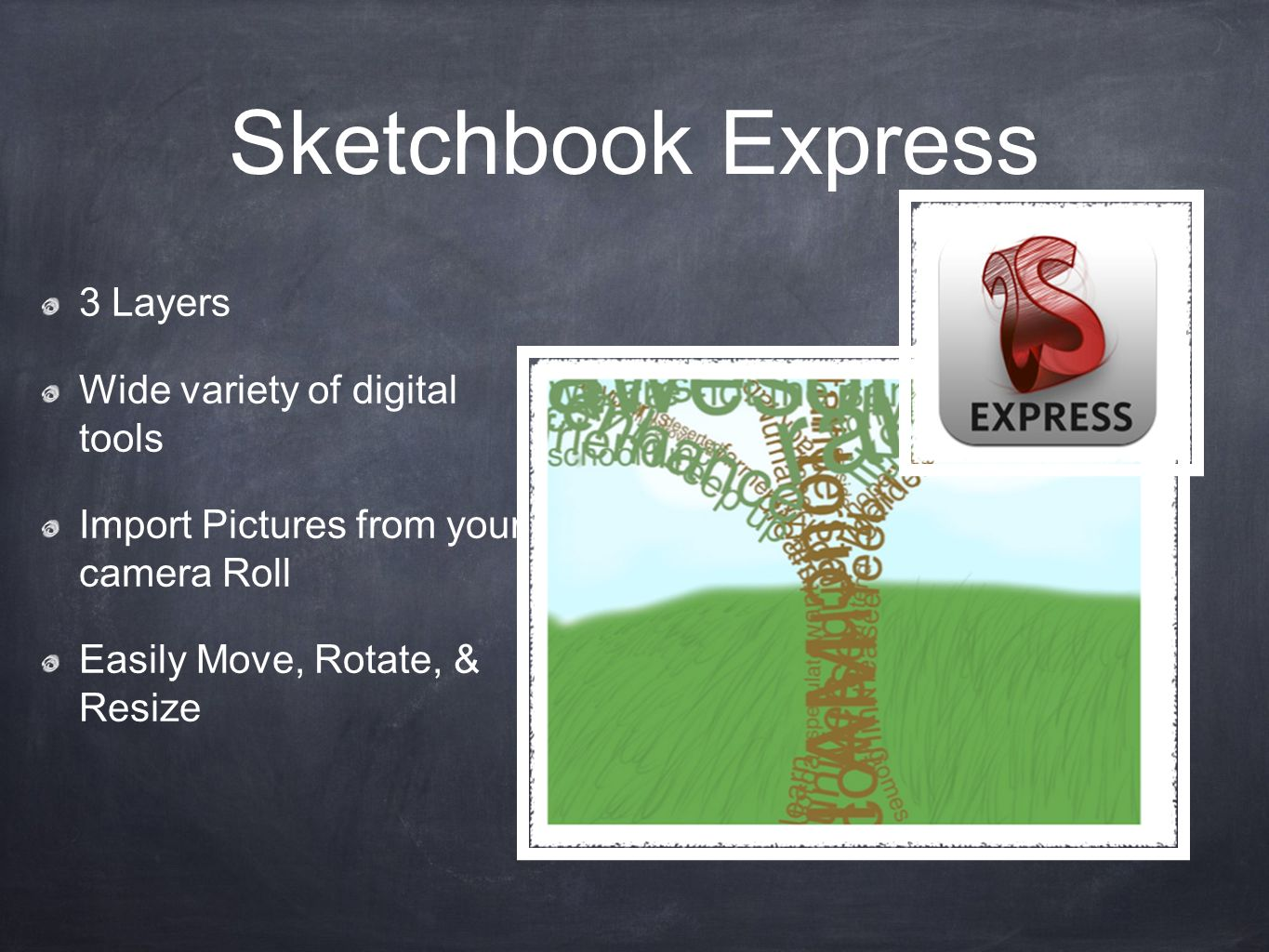 Sketchbook Express 3 Layers Wide variety of digital tools Import Pictures from your camera Roll Easily Move, Rotate, & Resize