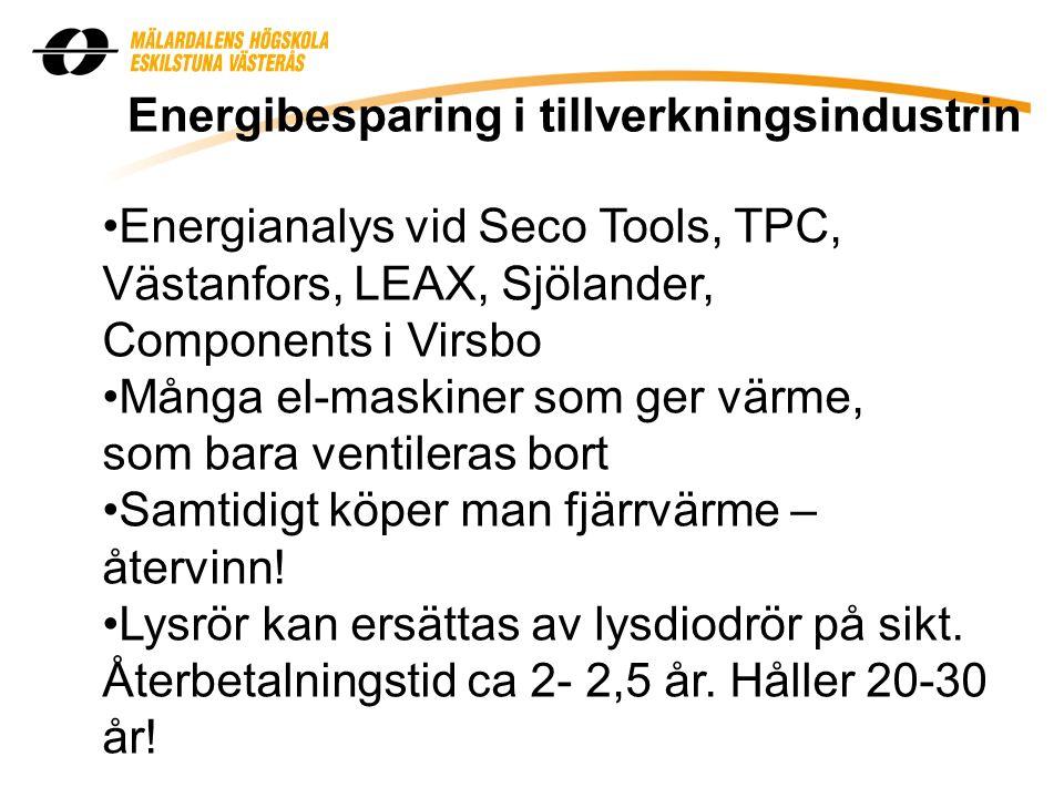 Energibesparing i tillverkningsindustrin Energianalys vid Seco Tools, TPC, Västanfors, LEAX, Sjölander, Components i Virsbo Många el-maskiner som ger värme, som bara ventileras bort Samtidigt köper man fjärrvärme – återvinn.