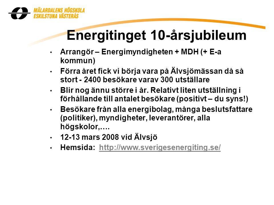 Energitinget 10-årsjubileum Arrangör – Energimyndigheten + MDH (+ E-a kommun) Förra året fick vi börja vara på Älvsjömässan då så stort - 2400 besökare varav 300 utställare Blir nog ännu större i år.