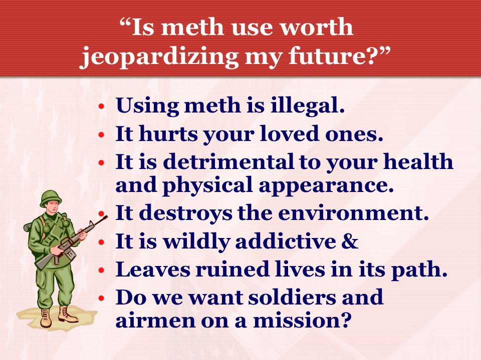 METH EFFECTS Meth causes mental confusion, severe anxiety, and paranoia. Methamphetamine users are very aggressive which often results in violent beha