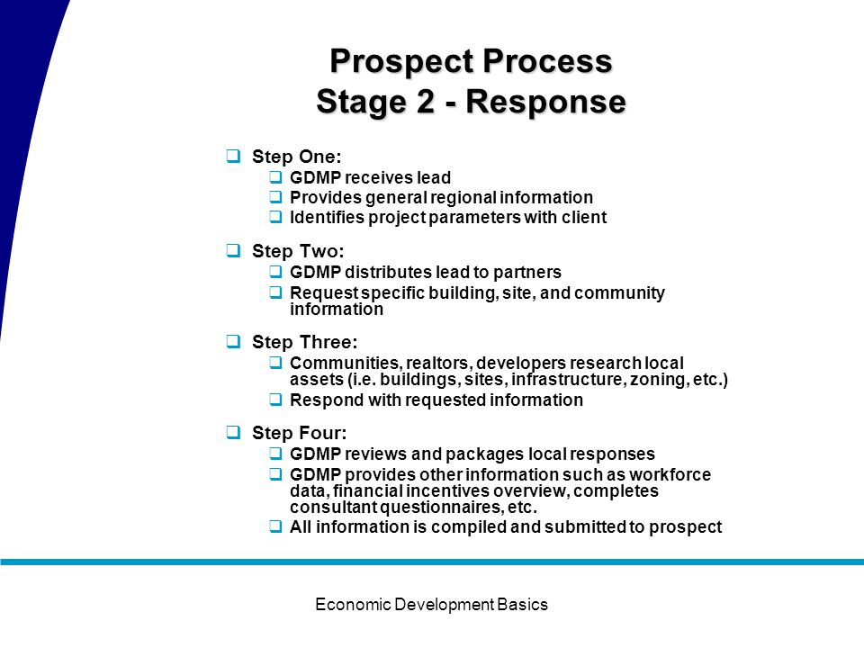 Economic Development Basics Prospect Process Stage 1 – Lead Generation Trend 2000-2006
