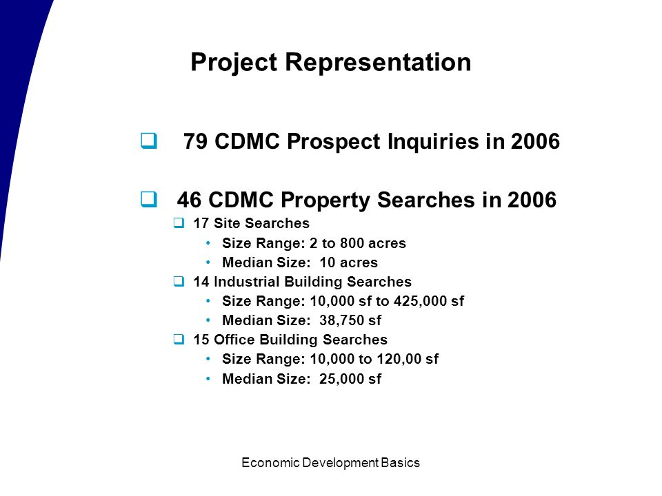 Economic Development Basics Prospect Process Stage 2 - Response Step One: GDMP receives lead Provides general regional information Identifies project