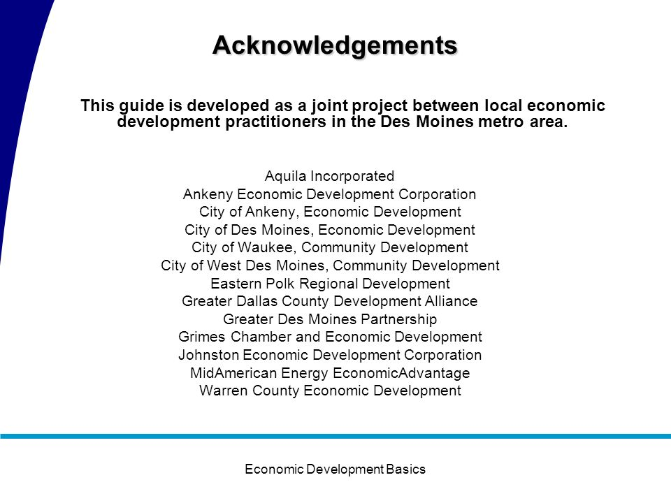 Economic Development Basics Appendix Confidentiality Agreement Prospect Check List Greater Des Moines Fair Play Agreement PDI Code of Ethics