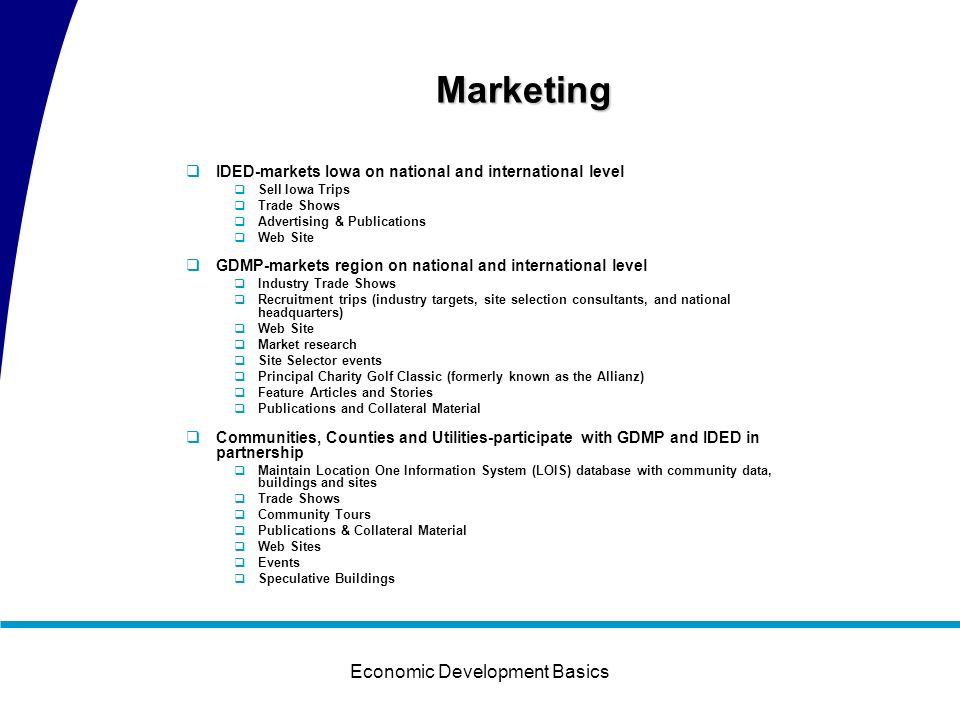 Economic Development Basics Economic Development Infrastructure Program of Work Marketing Iowa Department of Economic Development (IDED) Greater Des M