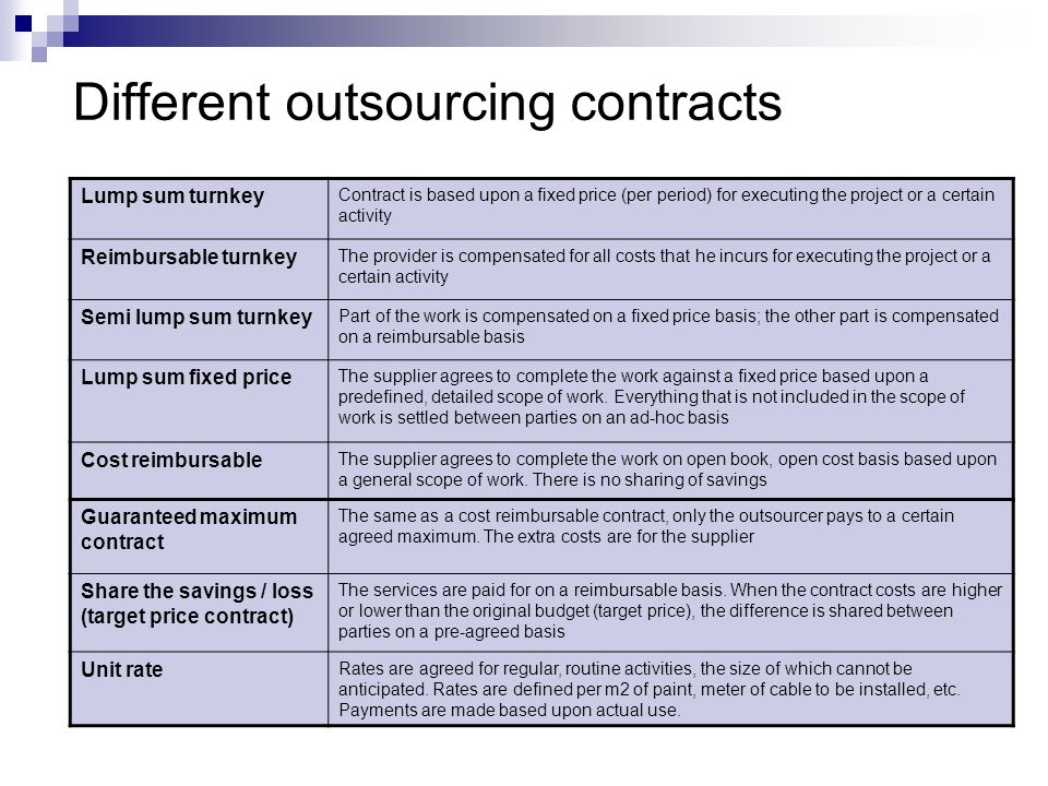 Different outsourcing contracts Lump sum turnkey Contract is based upon a fixed price (per period) for executing the project or a certain activity Rei