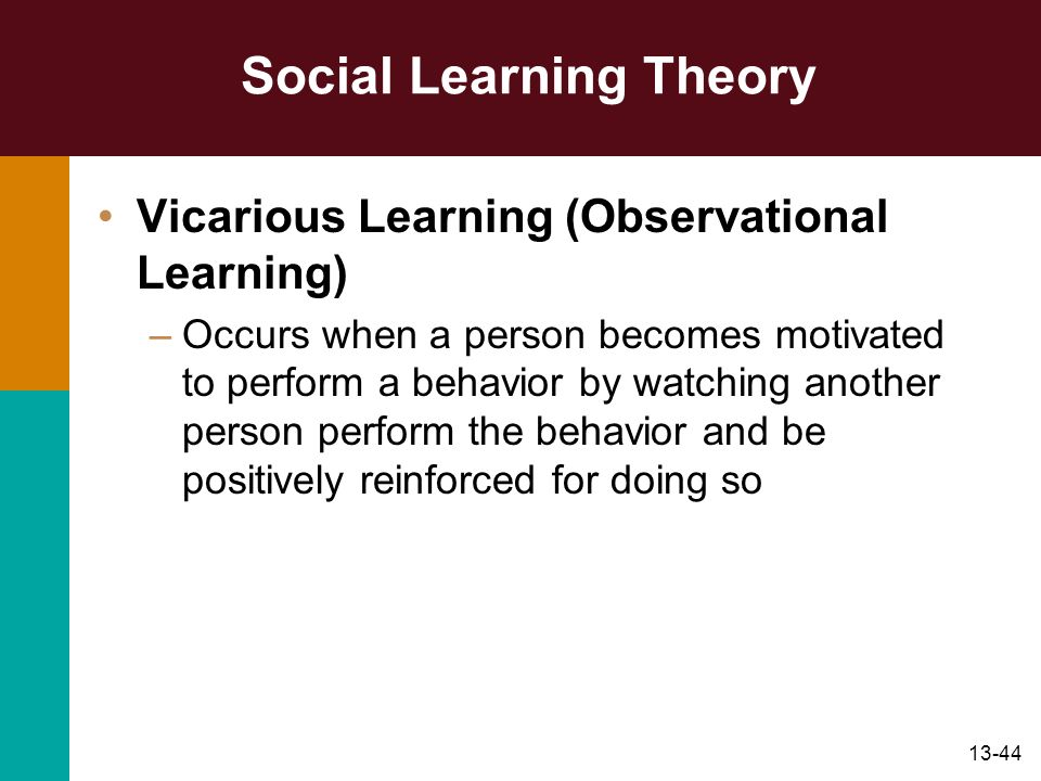 13-44 Social Learning Theory Vicarious Learning (Observational Learning) –Occurs when a person becomes motivated to perform a behavior by watching ano