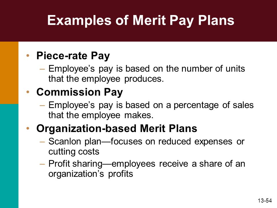 13-54 Examples of Merit Pay Plans Piece-rate Pay –Employees pay is based on the number of units that the employee produces. Commission Pay –Employees