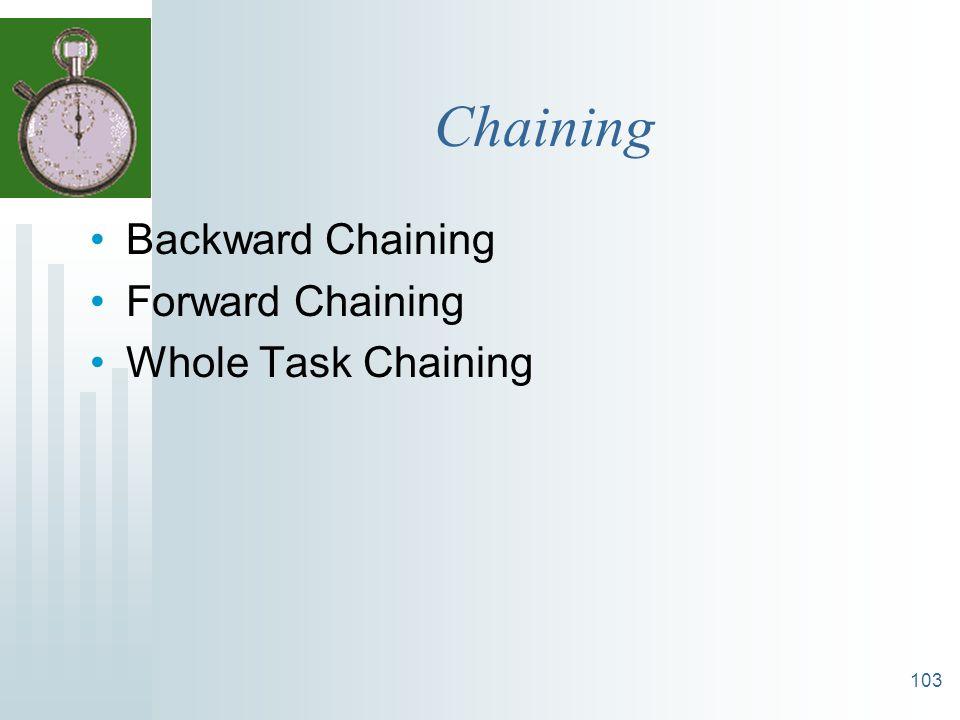 103 Chaining Backward Chaining Forward Chaining Whole Task Chaining