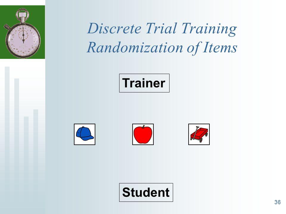36 Discrete Trial Training Randomization of Items Trainer Student