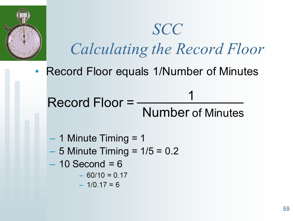 59 Record Floor equals 1/Number of Minutes –1 Minute Timing = 1 –5 Minute Timing = 1/5 = 0.2 –10 Second = 6 –60/10 = 0.17 –1/0.17 = 6 SCC Calculating