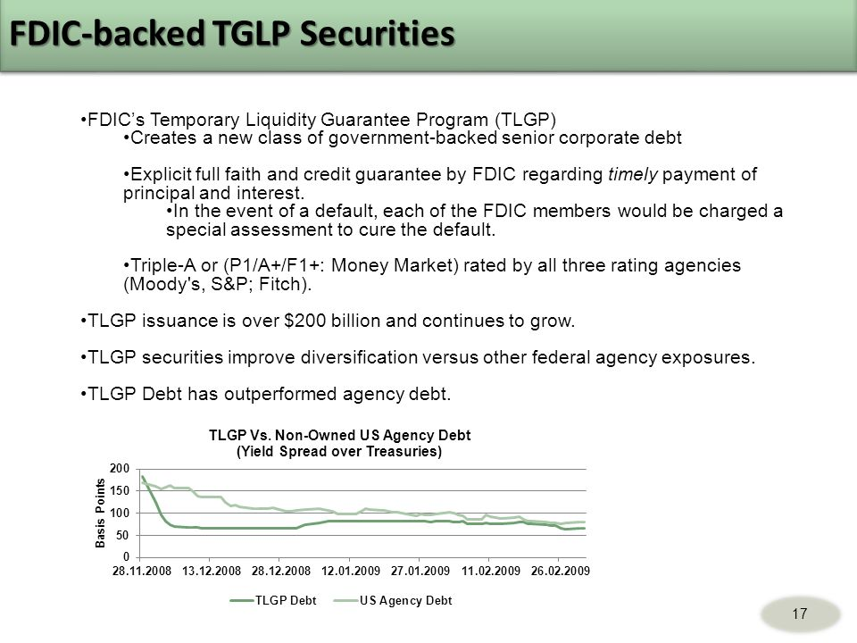 17 FDICs Temporary Liquidity Guarantee Program (TLGP) Creates a new class of government-backed senior corporate debt Explicit full faith and credit guarantee by FDIC regarding timely payment of principal and interest.